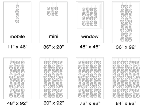 Size Chart for Large Atomic Retro-A-GoGo Screens Kits - Modern Room Dividers, Partitions, and Window Treatments by AtomicMobiles.com