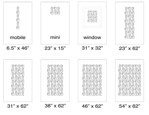 Size Chart of suggested sizes for Atomic Retro-A-GoGo Screens Kits - Modern Room Dividers, Partitions, and Window Treatments by AtomicMobiles.com