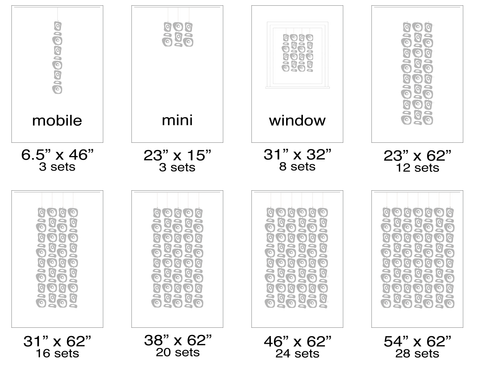 Size Chart for Retro-A-GoGo Atomic Screens - room dividers, partitions, wall art, curtains - by AtomicMobiles.com