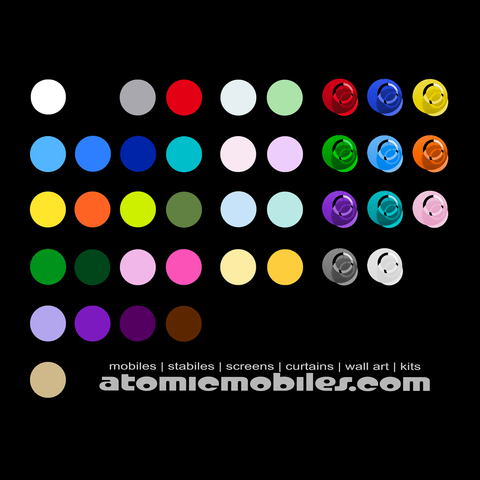 Beautiful Acrylic Colors - Color Chart for Mobiles and Stabiles by AtomicMobiles.com