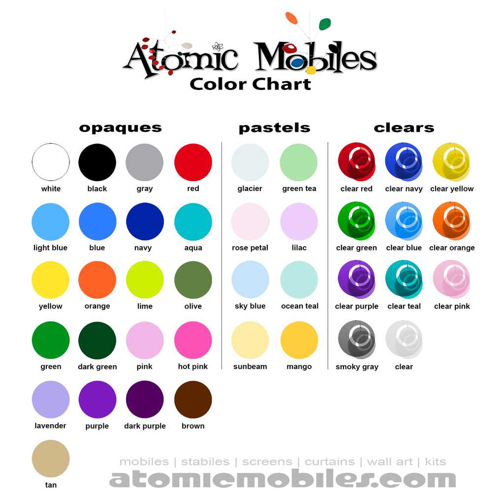 Color Chart for Hanging Art Mobiles and Stabiles by AtomicMobiles.com