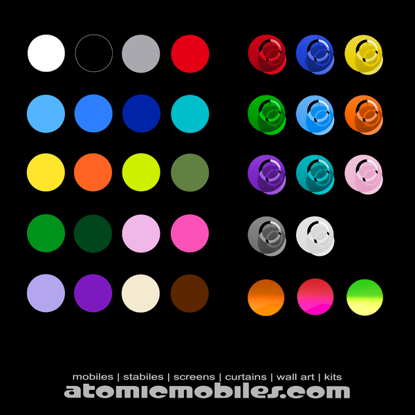 2020 Atomic Mobiles Color Chart - 34 beautiful colors - atomicmobiles.com