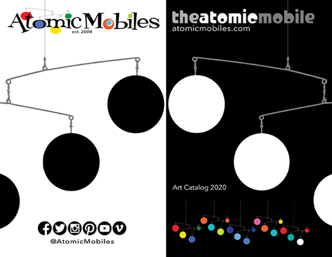 Front and back cover of 2020 Atomic Mobiles Art Catalog by AtomicMobiles.com