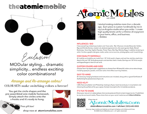 Pages 2 and 7 of 2020 Atomic Mobiles Art Catalog by AtomicMobiles.com
