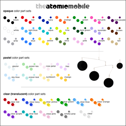 Color Chart of Beautiful Color Sets for The Atomic Mobile in 40 colors by AtomicMobiles.com