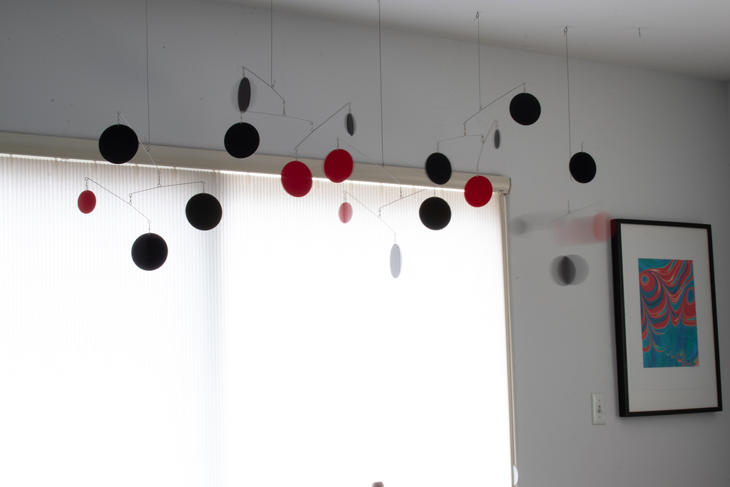 Black and Red beautiful large kinetic art mobiles by AtomicMobiles.com