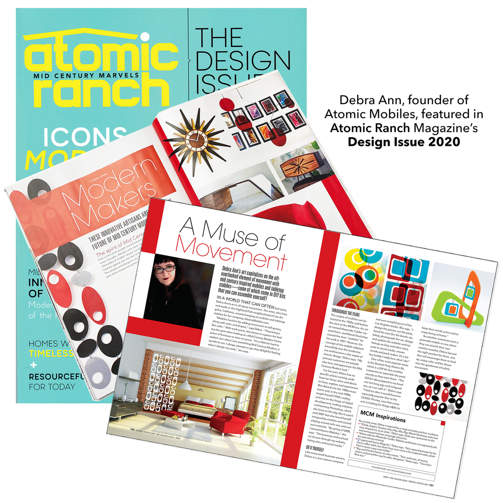Debra Ann of Atomic Mobiles featured in two page spread in Atomic Ranch Magazine's The Design Issue 2020 Modern Makers Section
