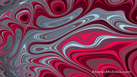 Free Zoom Virtual Background by AtomicMobiles.com in Red, Hot Pink, and Gray