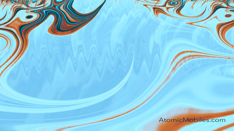 Free Zoom Virtual Background by AtomicMobiles.com in Blue and Brown