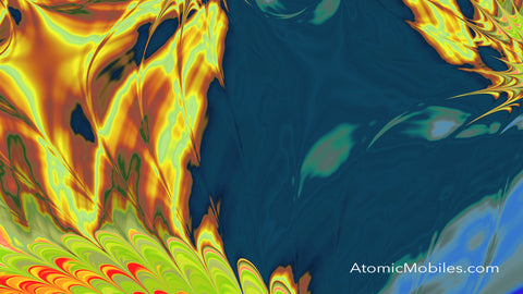 Free Zoom Virtual Background by AtomicMobiles.com in Yellow, Lime Green, Blue, Red