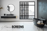 Modern bathroom with black retro inspired Atomic Screens window treatment by AtomicMobiles.com