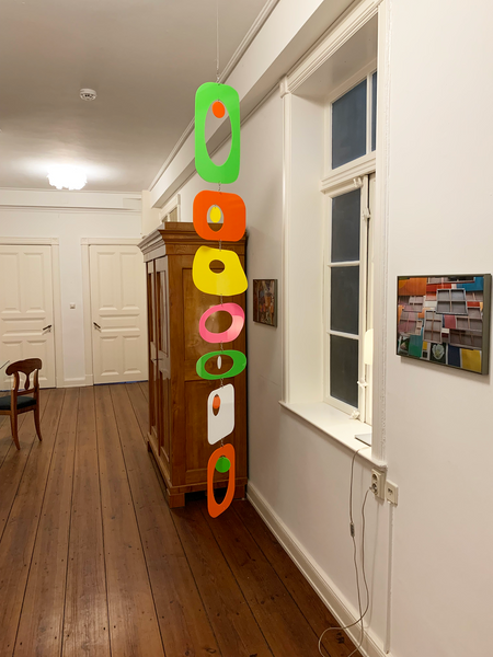 Colorful Beatnik Party Hanging Art Mobile in Client's Hamburg Germany Flat - kinetic art by AtomicMobiles.com