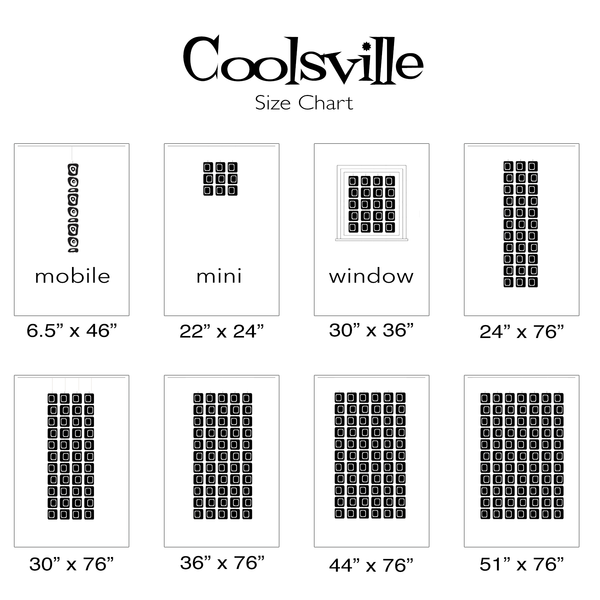 Coolsville Size Chart for pre-assembled mobiles, window curtains, wall art, and room dividers by AtomicMobiles.com