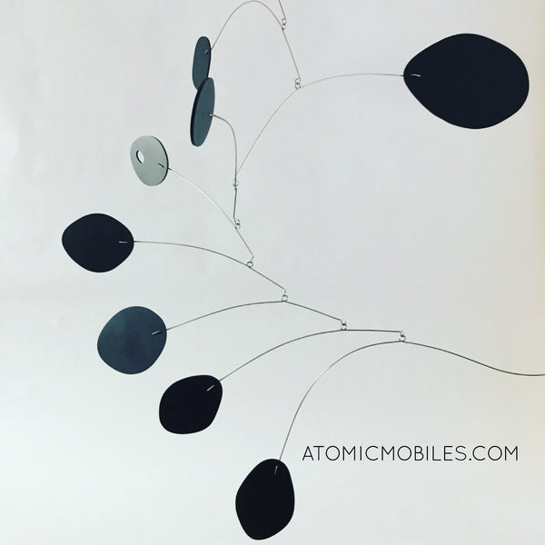Elegant all black hanging art mobile - The MCM - by AtomicMobiles.com