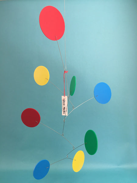 Exuberant Hanging Art Mobile in Red Blue Yellow and Green by AtomicMobiles.com