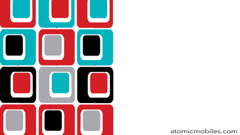 Free Retro Mid Century Modern Style Zoom Background in Red, Aqua, Black, and Gray by AtomicMobiles.com
