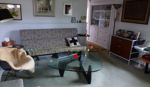 Client photo of Atomic Mobile's stabile art on Noguchi coffee table
