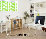 Lime green retro window treatment in home office - Atomic Screens by AtomicMobiles.com