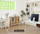Groovy lime green window treatment in home office - Atomic Screens by AtomicMobiles.com