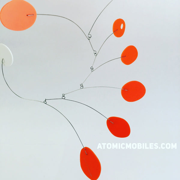Orange MCM midcentury inspired hanging art mobile by AtomicMobiles.com