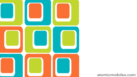 Free Mid Century Modern Style Zoom Background in Orange, Aqua, and Lime Green by AtomicMobiles.com