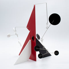 Another view of Le Mechanique Modern Abstract Art Stabile by AtomicMobiles in red black and white
