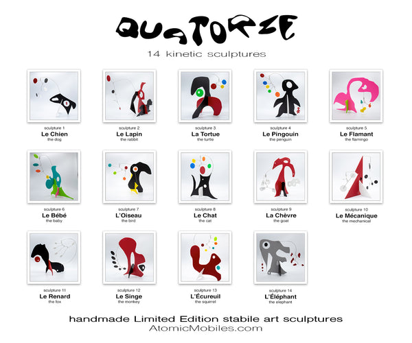 Quatorze - 14 cute animal inspired abstract modern art stabiles sculptures by AtomicMobiles.com