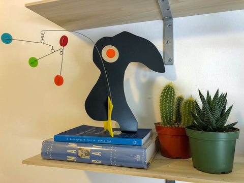 Bird modern art stabile sculpture with books and succulent and cactus plants by AtomicMobiles.com
