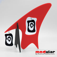 Handmade Modernist retro mid century style earrings and stabile kinetic modern art sculpture by AtomicMobiles.com