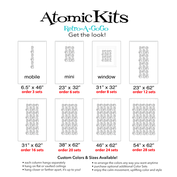 Retro-A-GoGo Parts Sets Size Chart - DIY Kits to make Mid Century Modern Room Dividers, Mobiles, and Curtains by AtomicMobile.com