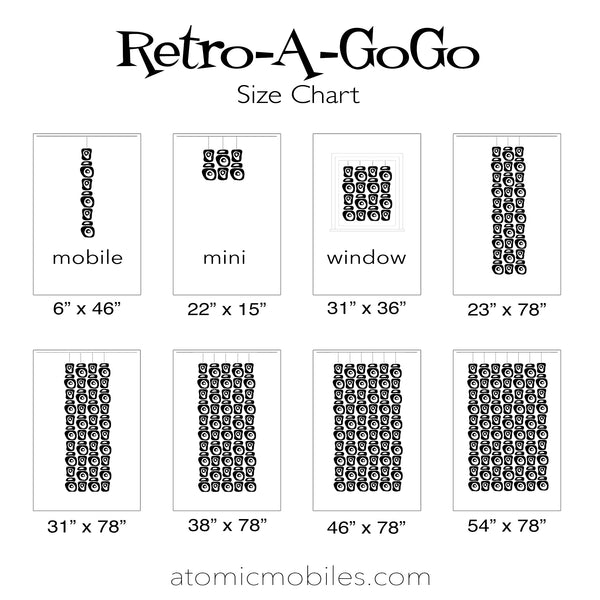 Retro-A-GoGo Room Dividers Size Chart by AtomicMobiles.com