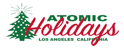 Atomic Holidays Logo for The Moderne Christmas Art Stabile Sculpture in red and green by AtomicMobiles.com