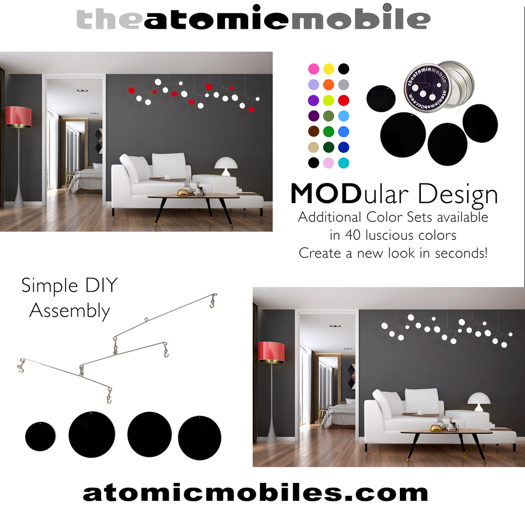 The Atomic Mobile in living room with white couch and gray walls - by AtomicMobiles.com