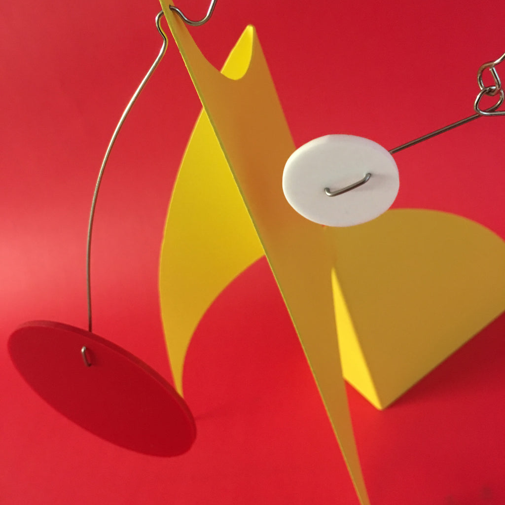 Gorgeous yellow Moderne art stabile sculpture by AtomicMobiles.com