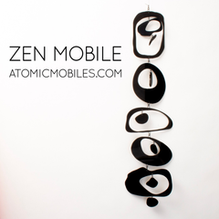 Black Zen Mobile by AtomicMobiles.com - Meditative sculpture, gently moving kinetic art mobile for your home and office
