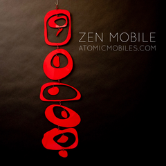 Red Zen Mobile by AtomicMobiles.com - Meditative sculpture, gently moving kinetic art mobile for your home and office