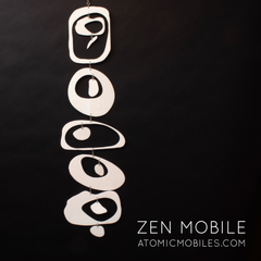 White Zen Mobile by AtomicMobiles.com - Meditative sculpture, gently moving kinetic art mobile for your home and office