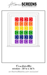 LGBTQ Rainbow Pride Coolsville Atomic Screens Window Size - Midcentury Modern Room Dividers by AtomicMobiles.com