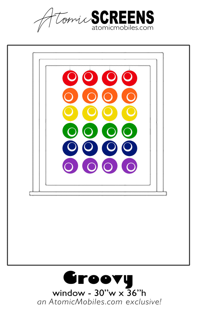 LGBTQ Rainbow Pride Groovy Atomic Screens Window Size - Midcentury Modern Room Dividers by AtomicMobiles.com