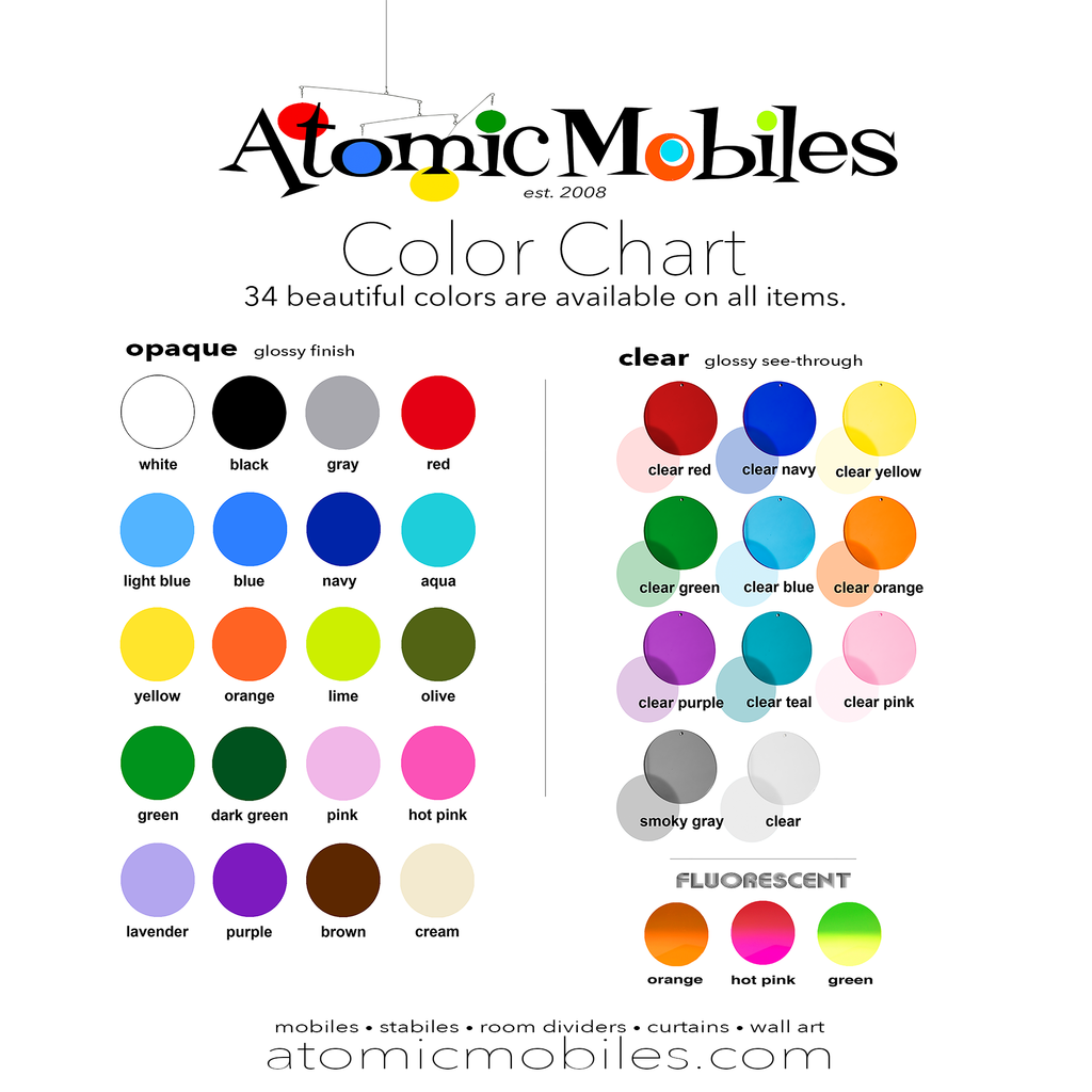 34 Beautiful Colors - AtomicMobiles.com Color Chart for Custom Vertical Modern Art Mobiles
