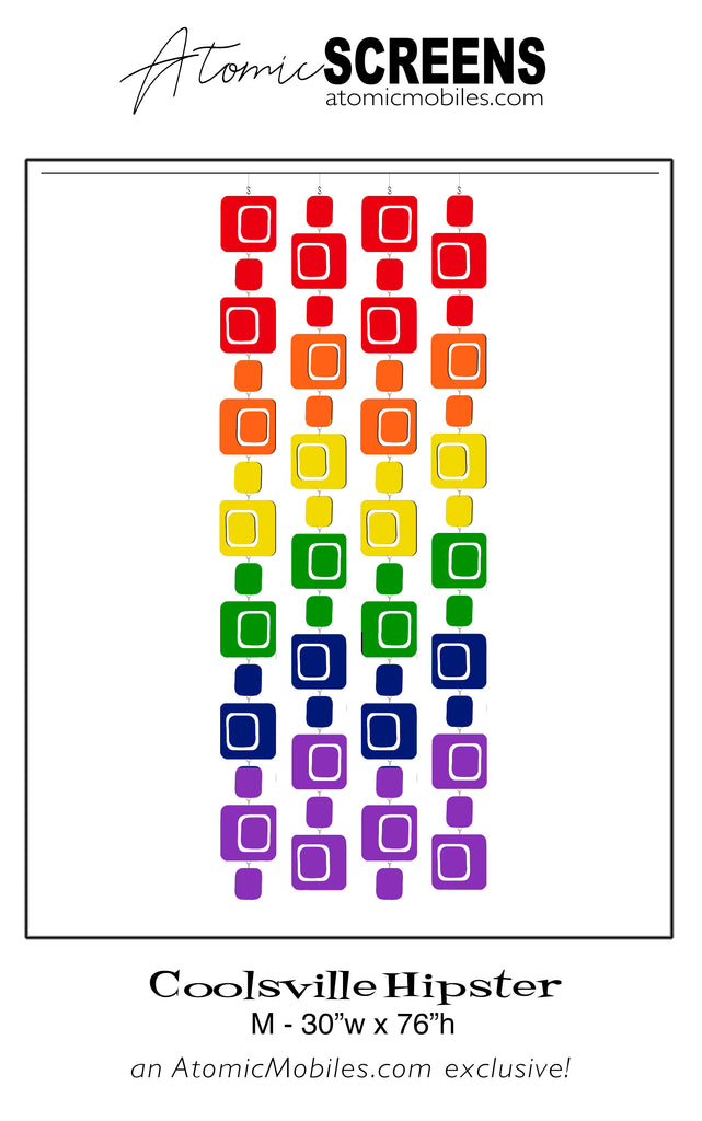LGBTQ Rainbow Pride Coolsville Hipster Atomic Screens M Size - Midcentury Modern Room Dividers by AtomicMobiles.com