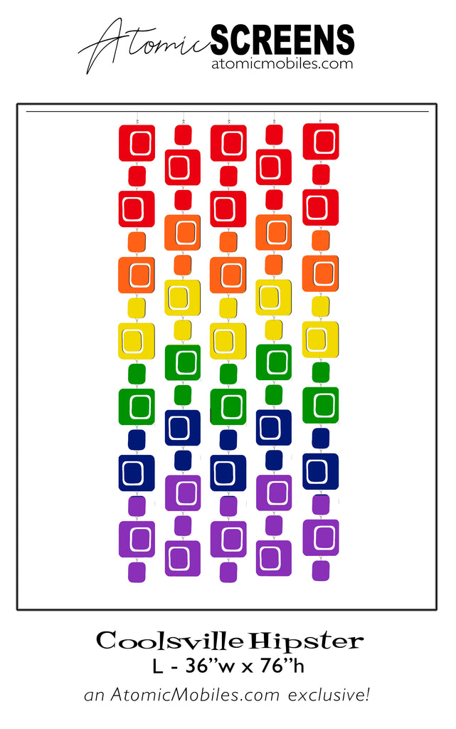 LGBTQ Rainbow Pride Coolsville Hipster Atomic Screens - Midcentury Modern Room Dividers in L Size by AtomicMobiles.com