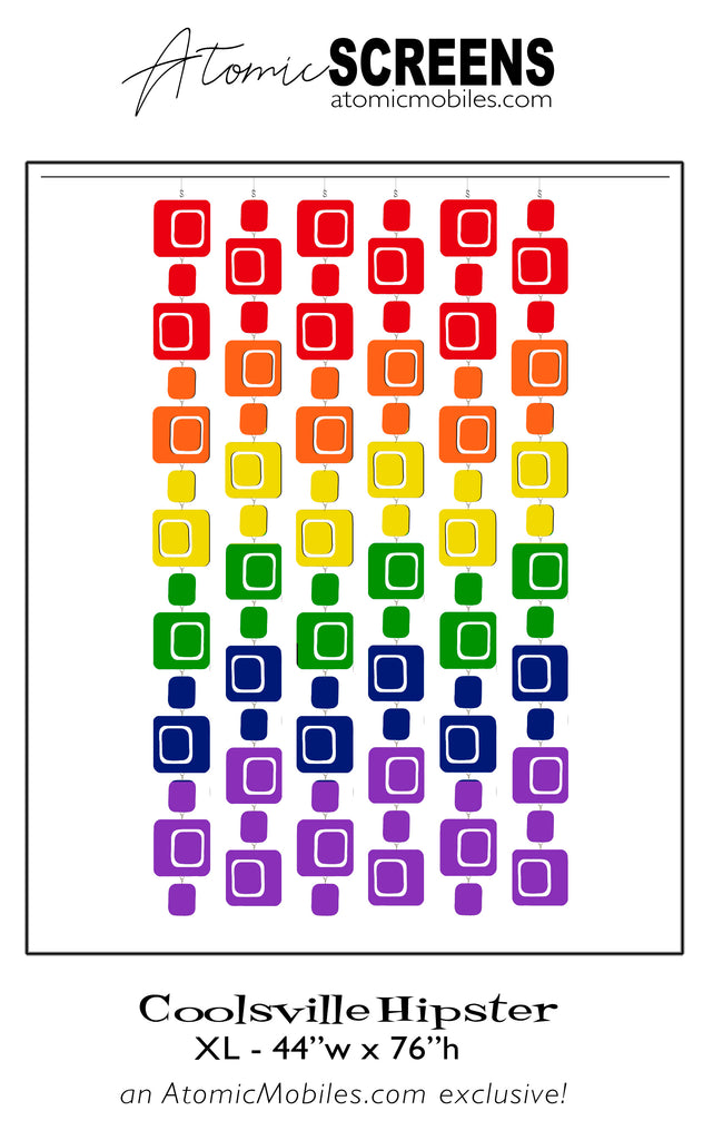 LGBTQ Rainbow Pride Coolsville Hipster Atomic Screens - Midcentury Modern Room Dividers in XL Size by AtomicMobiles.com
