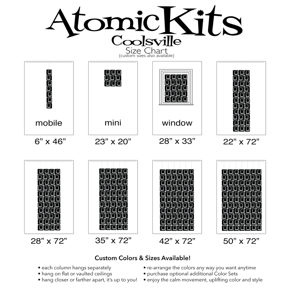 Size Chart for Coolsville in Black for Room Dividers, Curtains, Mobiles, and Wall Art DIY KIT by AtomicMobiles.com