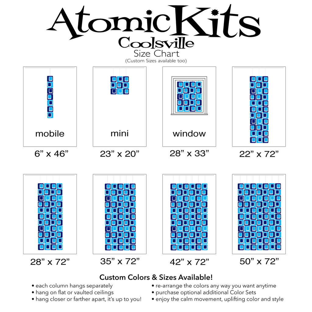 Size Chart for Coolsville in Blue and Navy Blue Colors for Room Dividers, Curtains, Mobiles, and Wall Art DIY KIT by AtomicMobiles.com