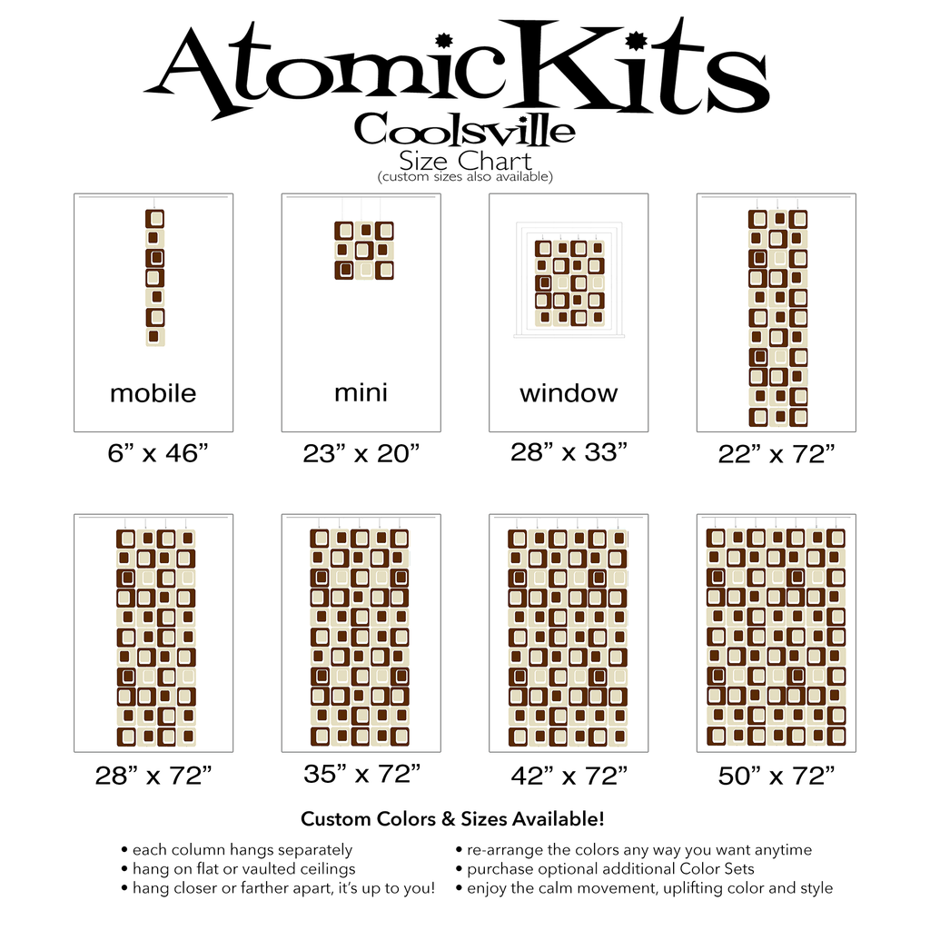 Size Chart for Coolsville in Cream and Brown Colors for Room Dividers, Curtains, Mobiles, and Wall Art DIY KIT by AtomicMobiles.com