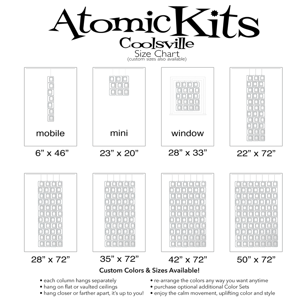 Size Chart for Coolsville in Clear Acrylic Colors for Room Dividers, Curtains, Mobiles, and Wall Art DIY KIT by AtomicMobiles.com