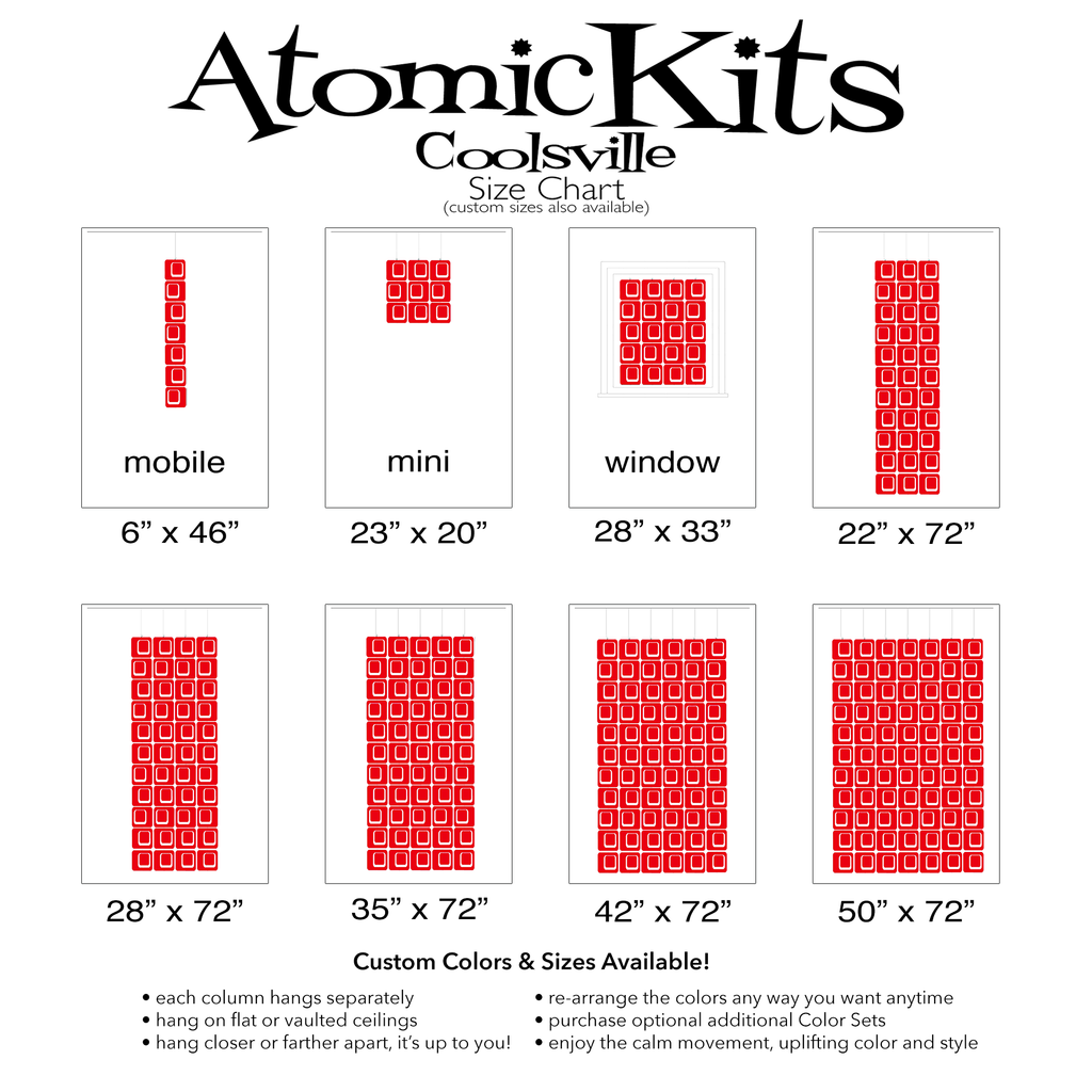 Size Chart for Coolsville in Red for Room Dividers, Curtains, Mobiles, and Wall Art DIY KIT by AtomicMobiles.com