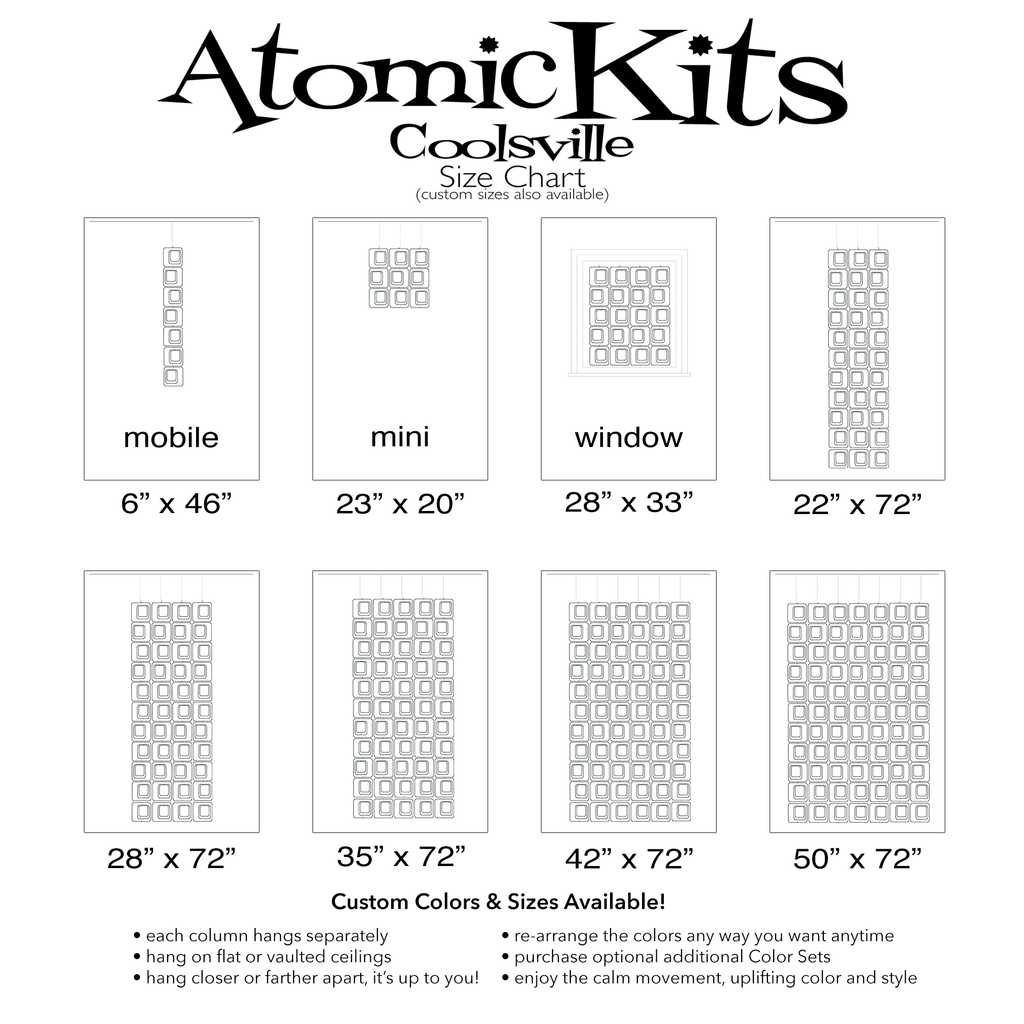 Size Chart for Coolsville in White for Room Dividers, Curtains, Mobiles, and Wall Art DIY KIT by AtomicMobiles.com