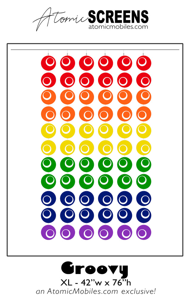 Groovy LGBTQ+ Rainbow Room Divider Screens in Gay Pride colors in XL Size by AtomicMobiles.com
